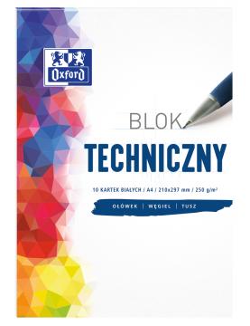 Blok techniczny Oxford biały A4